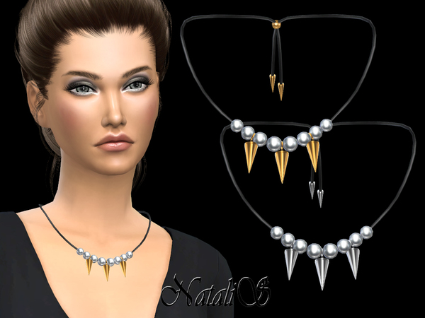 NataliS_Pearls and spikes necklace