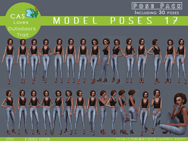Model poses 17 Posepack and CAS by HelgaTisha