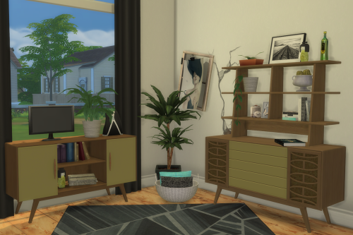 S3 to S4 - BuffSumm 1950s Livingroom: 2 Sideboards & Upper Shelf by ChiLlis Sims