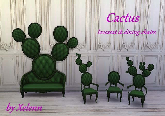 Cactus Loveseat & dining chairs by Xelenn