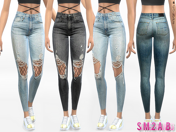 332 - Ripped Skinny Jeans With Tights by sims2fanbg