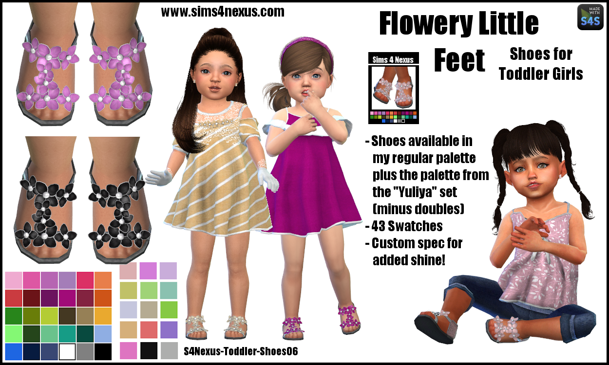 Flowery Little Feet -Shoes for Toddler Girls- by sims4nexus