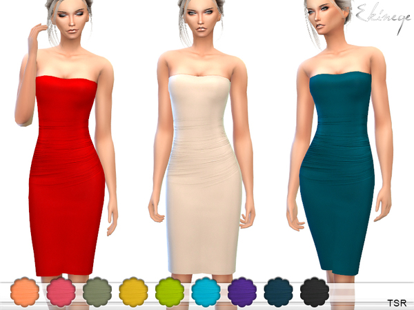 Strapless Midi Tube Dress by ekinege