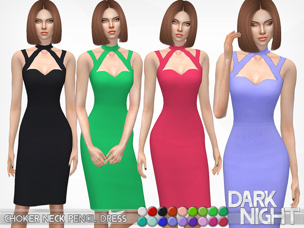 Choker Neck Pencil Dress by DarkNighTt