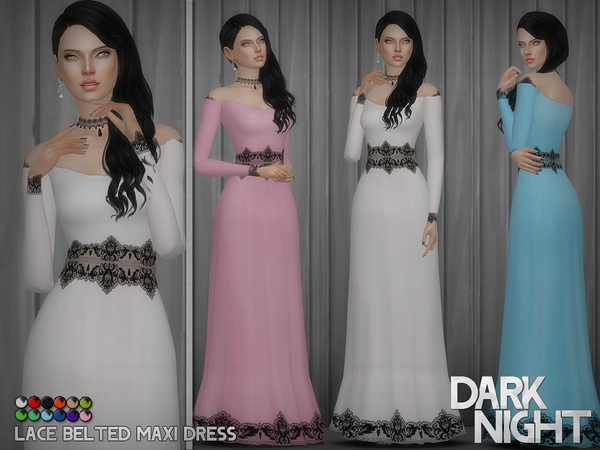 Lace Belted Maxi Dress by DarkNighTt
