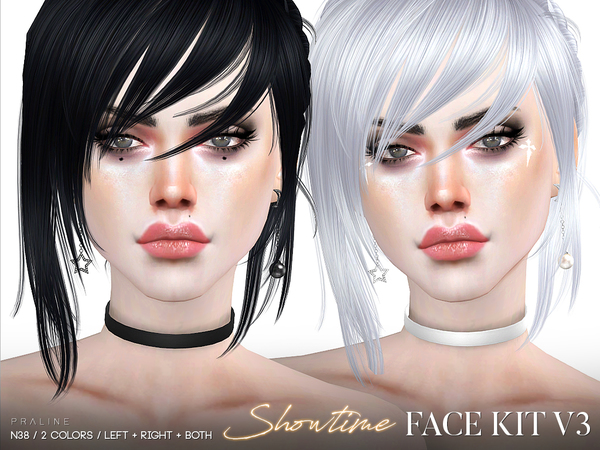 Showtime Face Kit V3 / N38 by Pralinesims