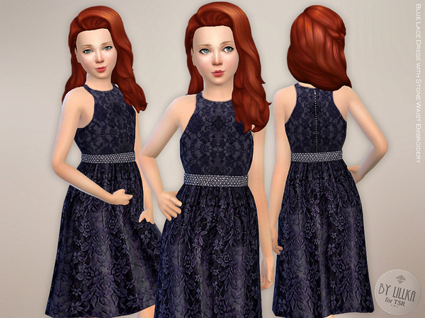 Blue Lace Dress with Stone Waist Embroidery by lillka