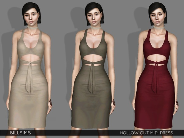 Hollow-out Midi Dress by Bill Sims