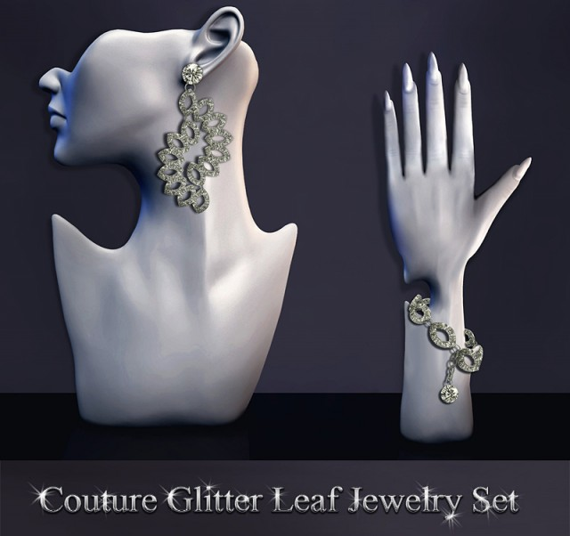 Couture Glitter Leaf Jewelry Set by SantosFashion