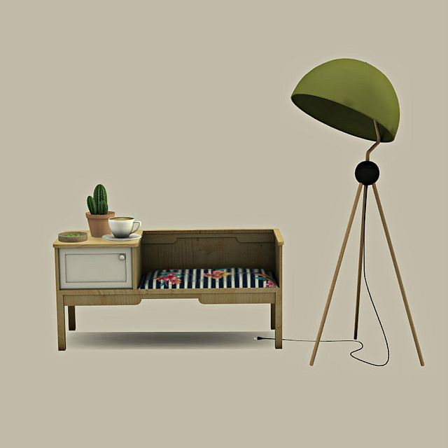 Bench Table and Floor Lamp by Leo-Sims