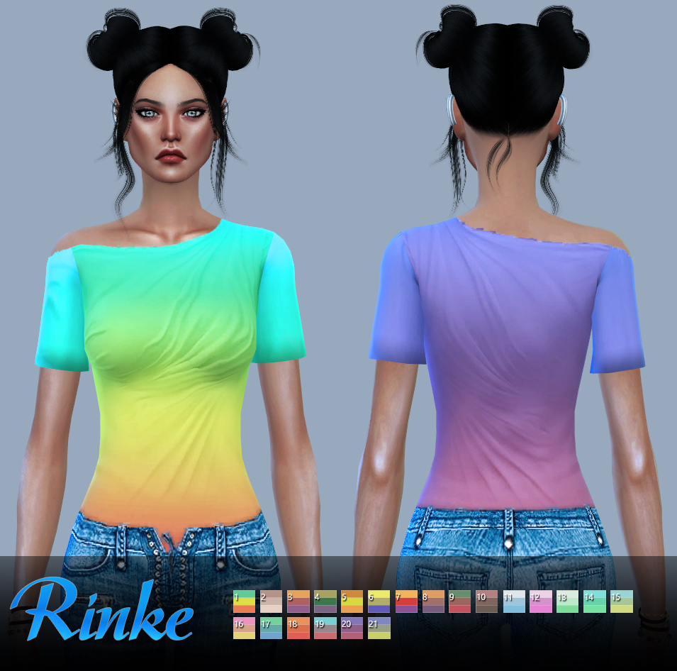 JS SIMS 4_One-Shoulder Ruched Top by Rinke