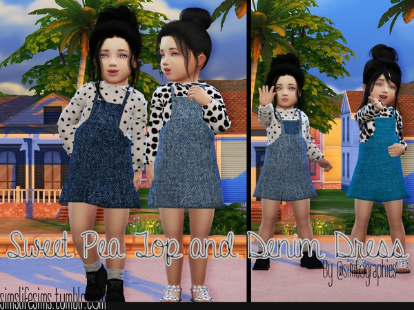 Sweet Pea Top and Denim Dress by simtographies