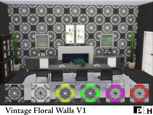 Vintage Floral Walls V1 by Pinkfizzzzz