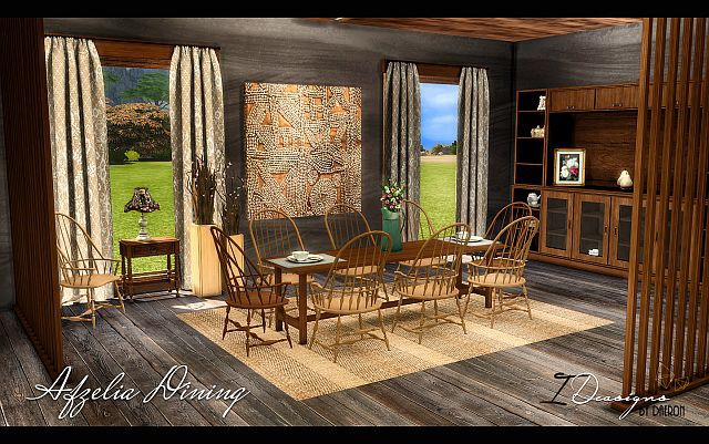 Afzelia Dining Set (New Meshes) by Daer0n