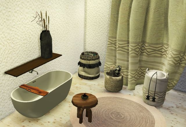 Baskets, curtain, small table, rug and vase by Steffor