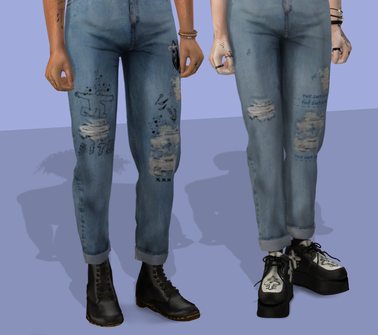 Highwaisted Jeans and Tank Top by plushxsims