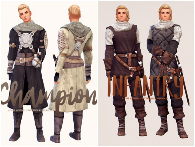 Champion & Infantry The Sims Medieval outfits conversion by Valhallan
