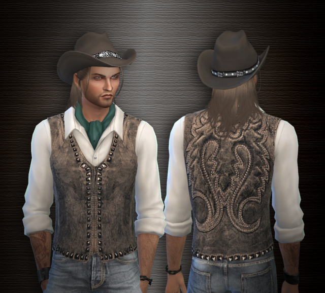 Top with leather vest and cowboy hat by AslialSim