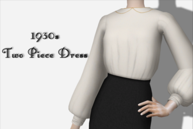 [Lonelyboy] TS3 & TS4 1930s Two Piece Dress by happylifesims