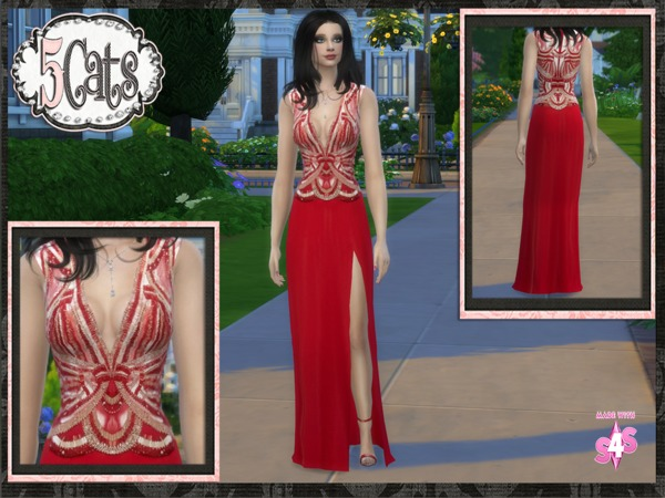 Beaded Bodice Designer Gown with Slit by Five5Cats