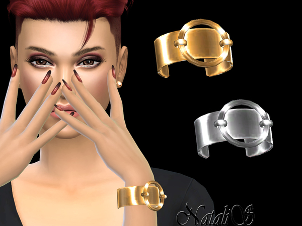 NataliS_Ring-Accented Cuff Bracelet