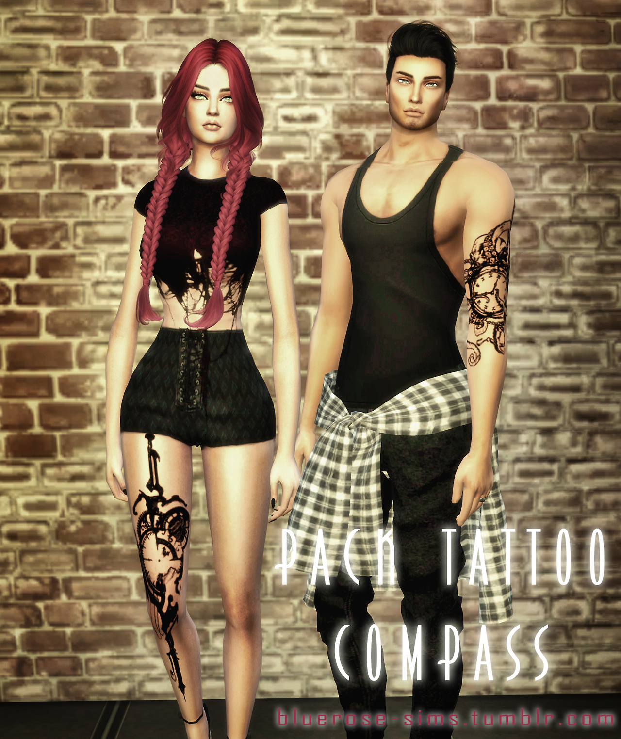 Pack Tattoos COMPASS by bluerose-sims