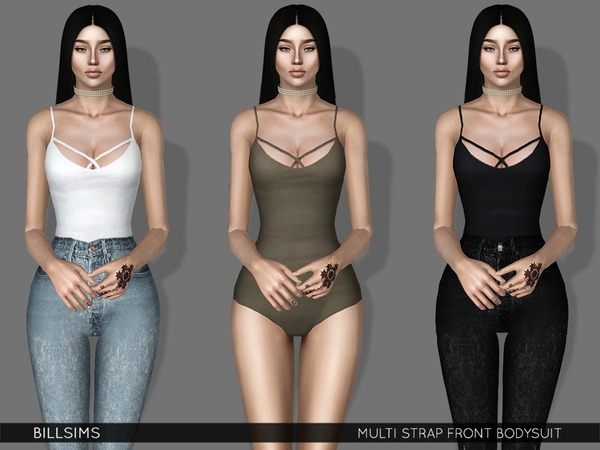 Multi Strap Front Bodysuit by Bill Sims