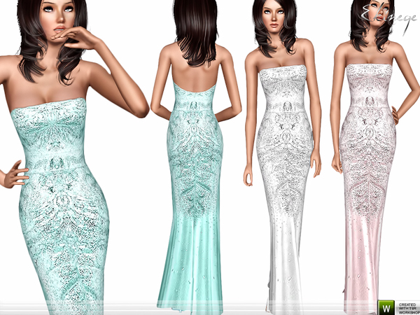 Strapless Embellished Dress by ekinege