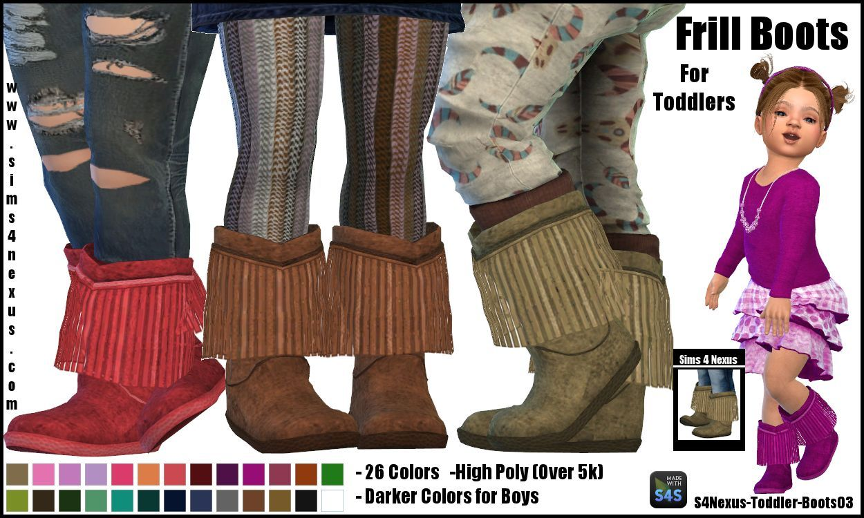 Frill Boots -For Toddlers- by sims4nexus