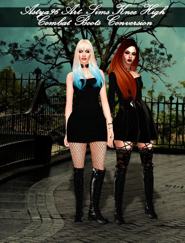 Art-Sims Knee High Combat Boots Conversion by Astya96