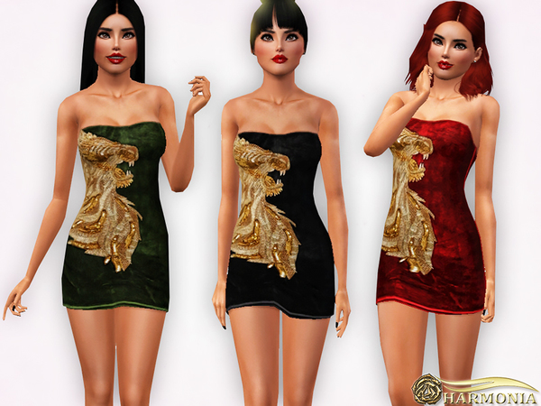 Strapless Embellished Velvet Mini Dress by Harmonia