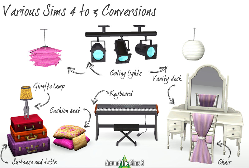 Various Sims 4 to 3 conversions by Sandy