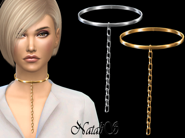 NataliS_Choker with hanging chain link