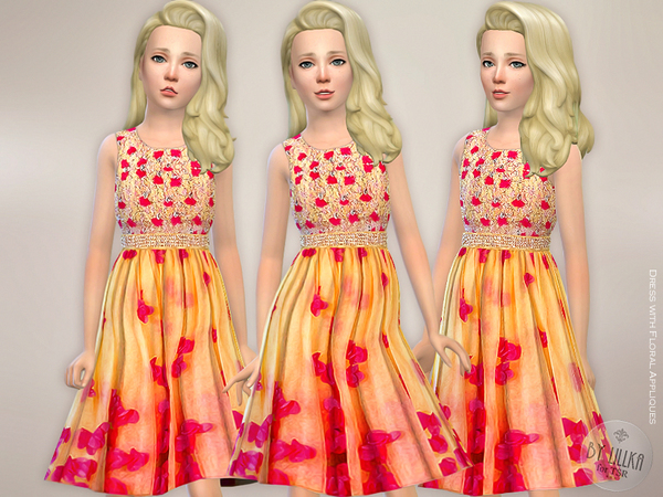 Dress with Floral Appliques by lillka