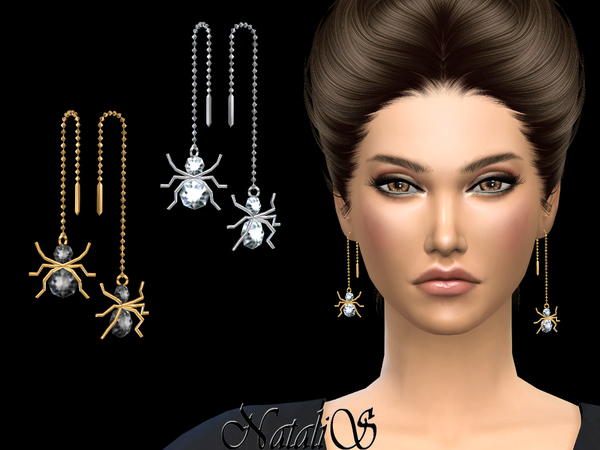NataliS_Spider Chain Drop Earrings