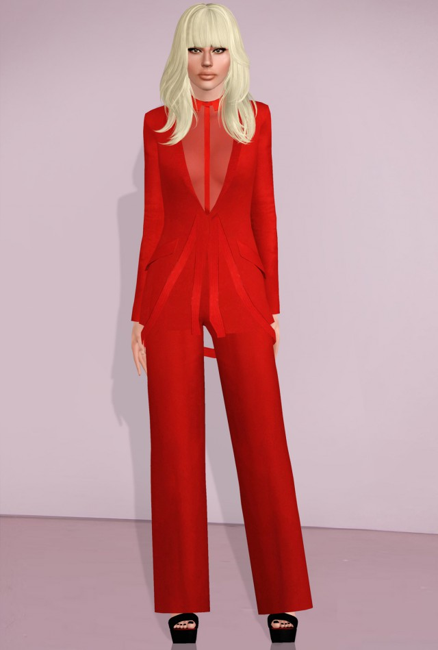 Alexis Mabille red pantsuit by alecseycool