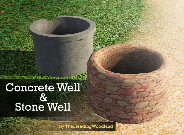 Concrete Well & Stone Well by thebleedingwoodland