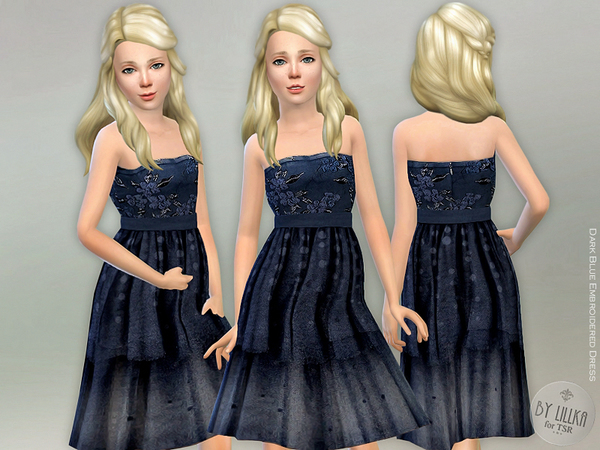 Dark Blue Embroidered Dress by lillka