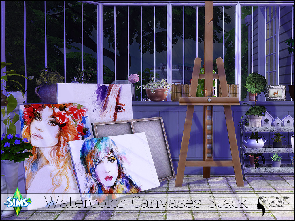 TS4 Stacks of watercolour canvases by The Sim Girl Next Door