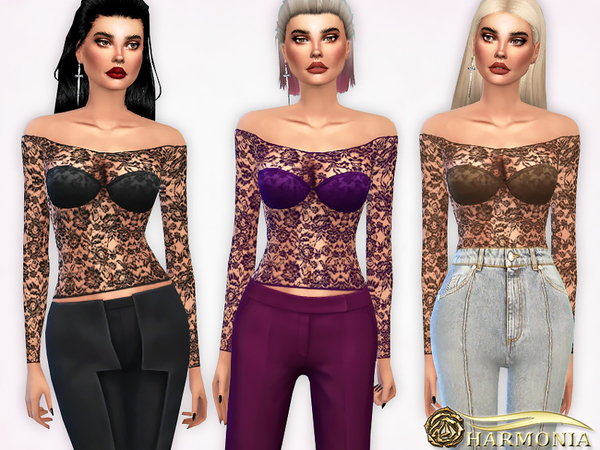 Off the Shoulder Lace-Mesh Top by Harmonia