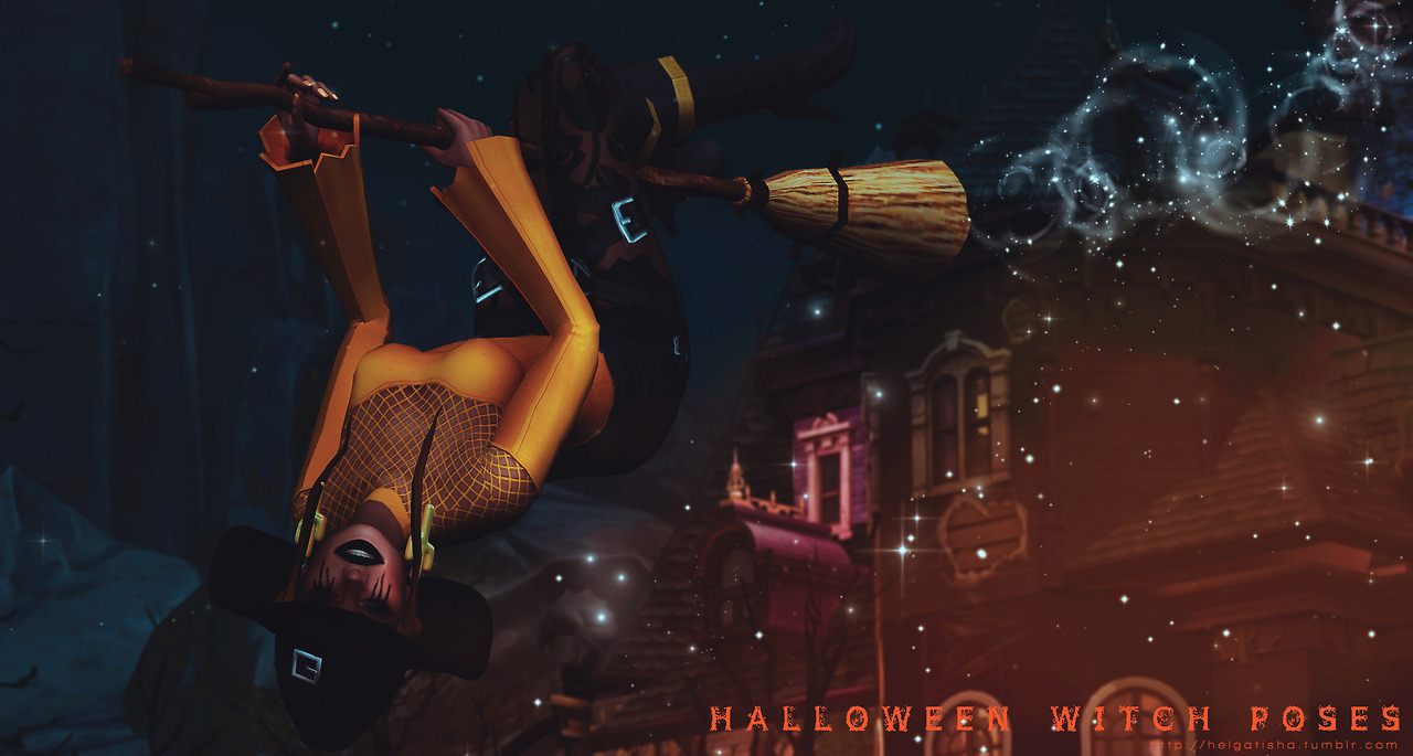 (TS4) Halloween Witch poses Pose Pack by helgatisha