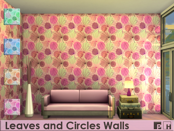 Leaves an Circles Walls by Pinkfizzzzz