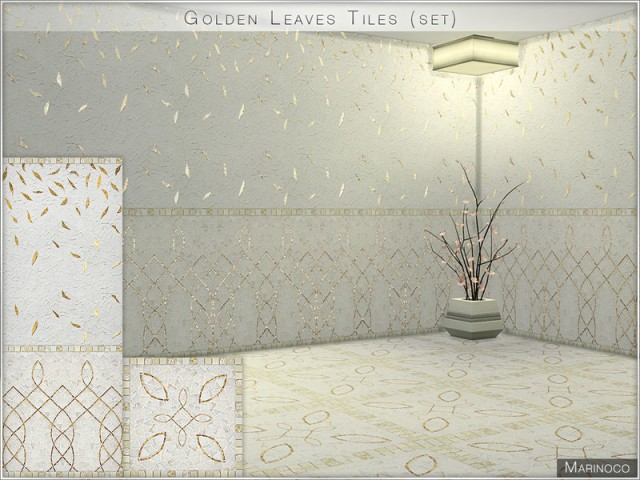 Golden Leaves Tiles (set) by Marinoco