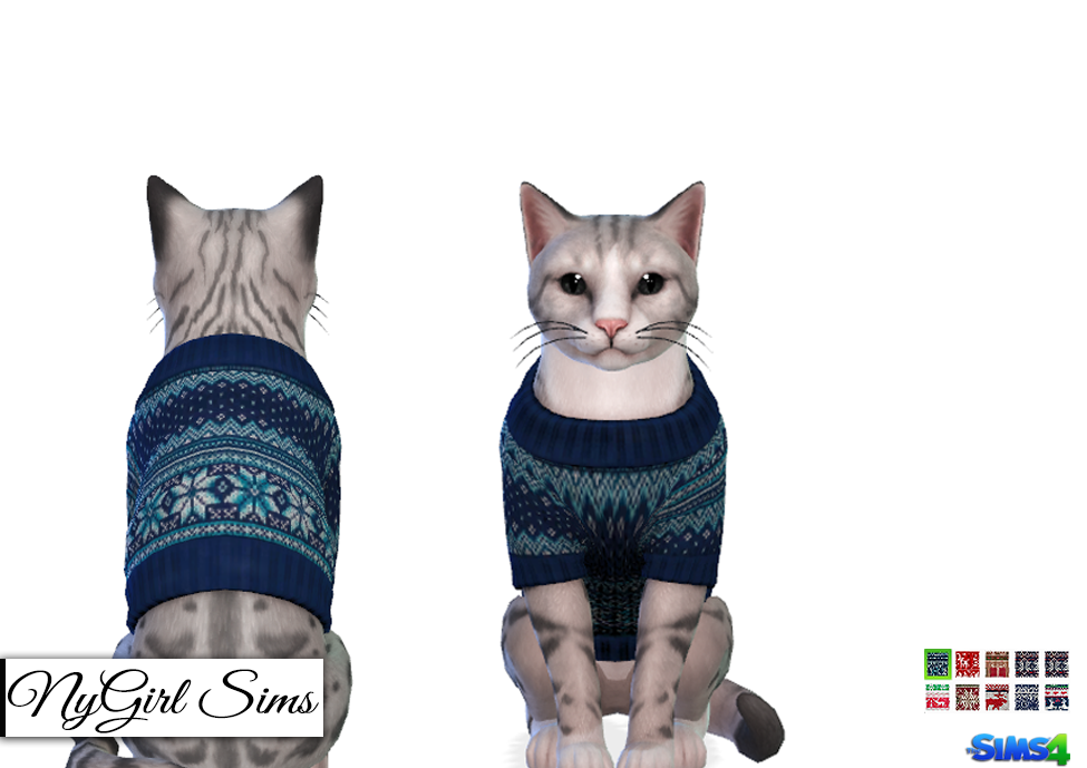 Cats Knitted Holiday Sweater by NY Girl Sims