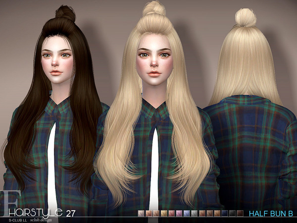 sclub ts4 hair Half Bun n27B by S-Club