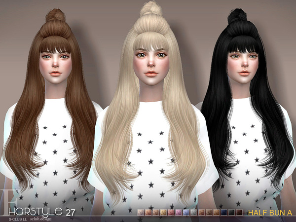 sclub ts4 hair Half Bun n27A by S-Club