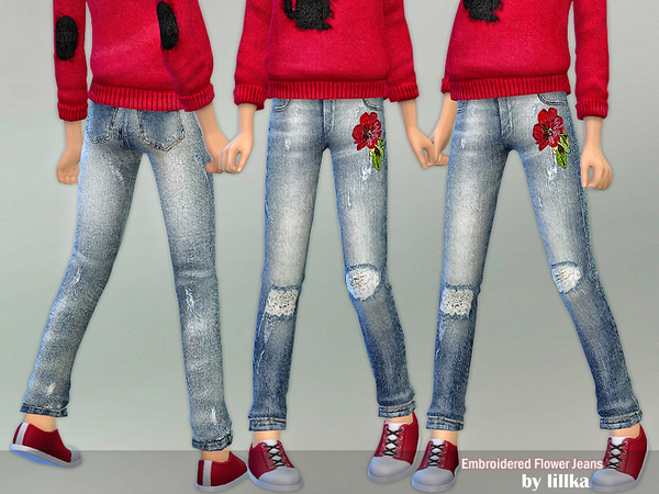 Embroidered Flower Jeans by lillka
