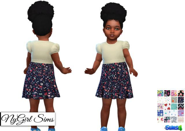 Dress with Printed Skirt by NyGirl