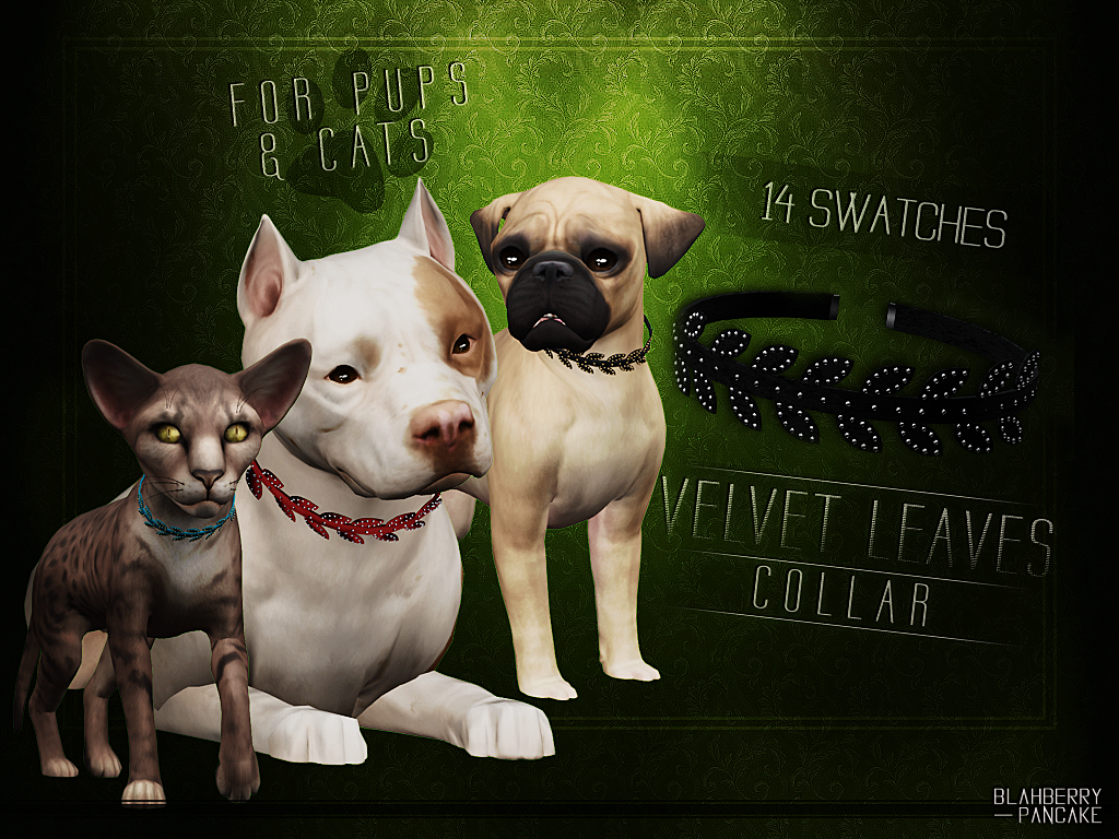 Velvet Leaves Collar for pups & cats by Blahberry Pancake