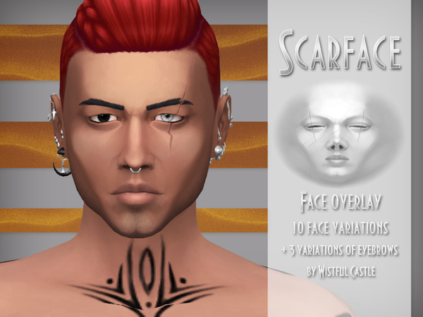 Scarface - Male face overlay & eyebrows by WistfulCastle